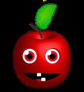 Manzana, dibujo, asustada, desconcierto