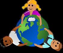 Personas abrazando el mundo, dibujo