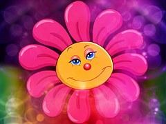 Flor rosada, margarita con cara sonriente